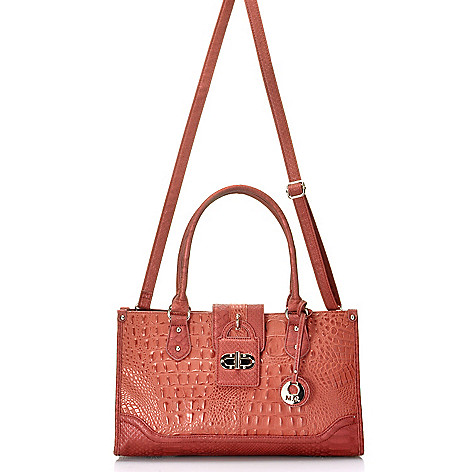 715-034 - Madi Claire Croco Embossed Pearlized Leather Zip Top Satchel w/ Cross Body Strap