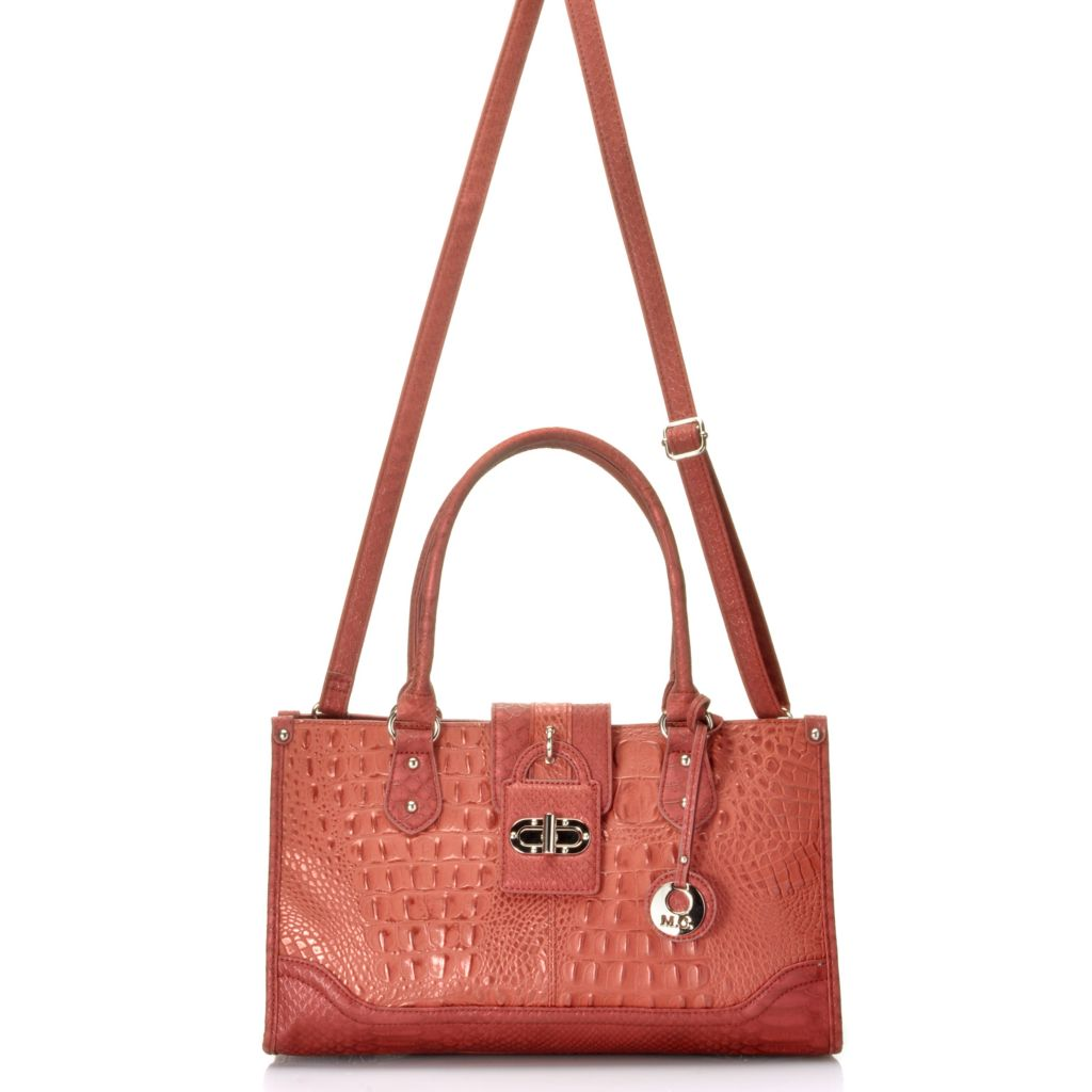 715-034 - Madi Claire Croco Embossed Leather Zip Top Satchel w/ Cross Body Strap