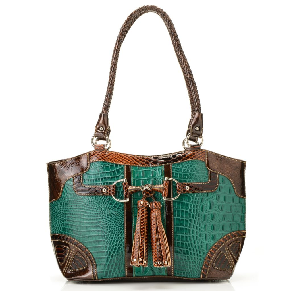715-035 - Madi Claire Croco Embossed Leather Tasseled Double Woven Handle Tote Bag