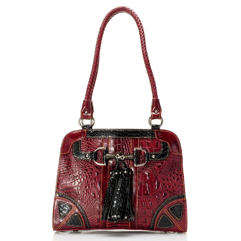 715-036 - Madi Claire Croco Embossed Leather Tasseled Multi Compartment Shopper Handbag