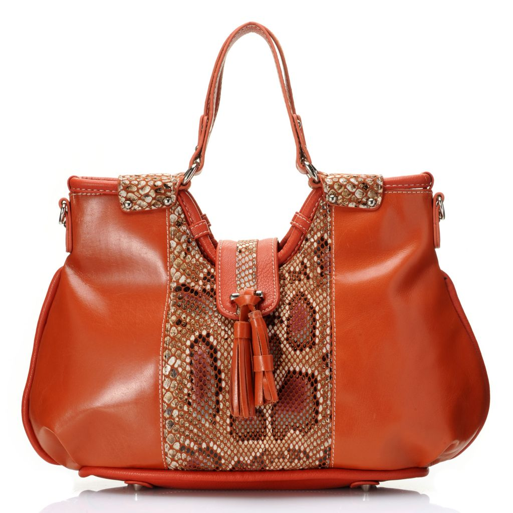 715-038 - Madi Claire Smooth Leather Snake Print Tasseled Satchel w/ Shoulder Strap