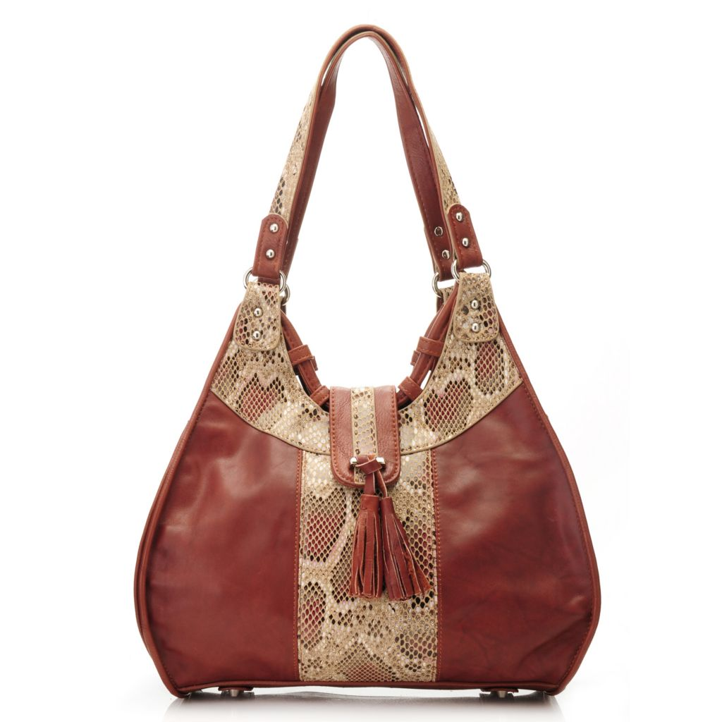 715-039 - Madi Claire Smooth Leather Snake Print Tasseled Zip Top Hobo Handbag