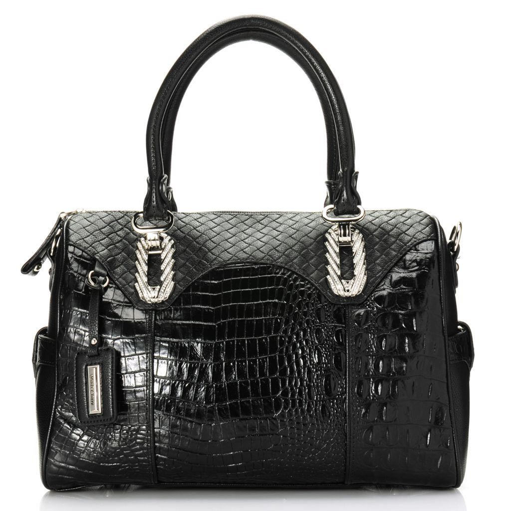 715-040 - Madi Claire Crocodile & Woven Embossed Leather Barrel Satchel w/ Shoulder Strap