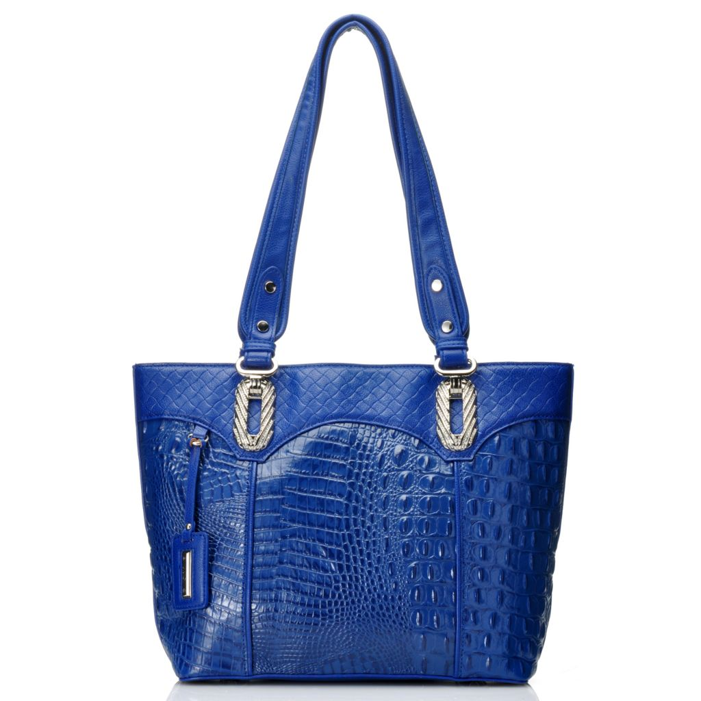 715-041 - Madi Claire Crocodile & Woven Embossed Leather Double Handle Tote Bag