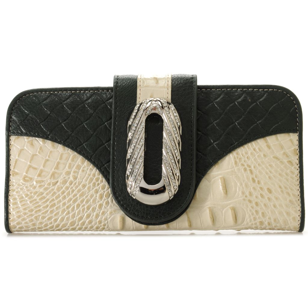 715-042 - Madi Claire Crocodile & Woven Embossed Leather Rhinestone Embellished Wallet