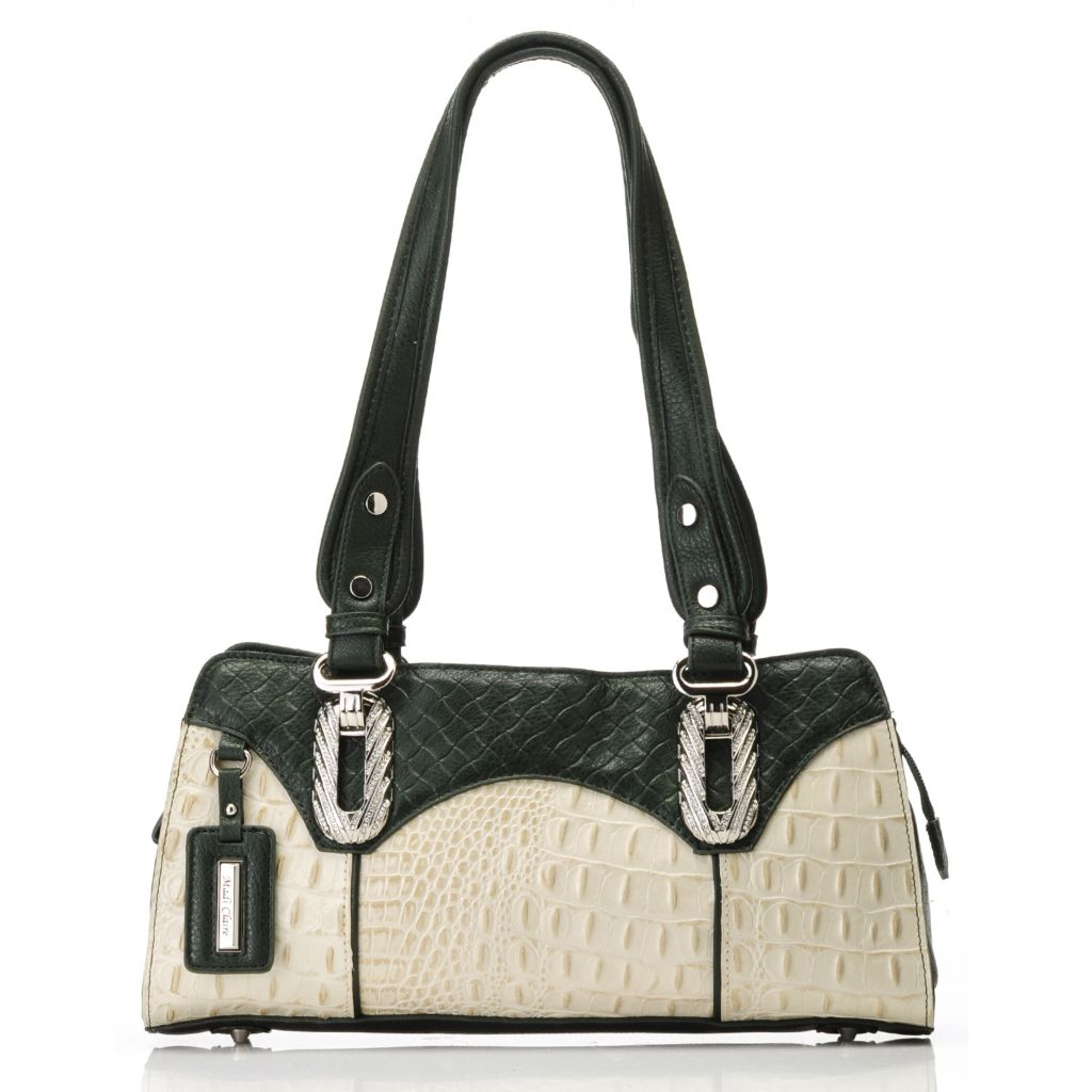 715-043 - Madi Claire Crocodile & Woven Embossed Leather Double Handle Zip Top Satchel