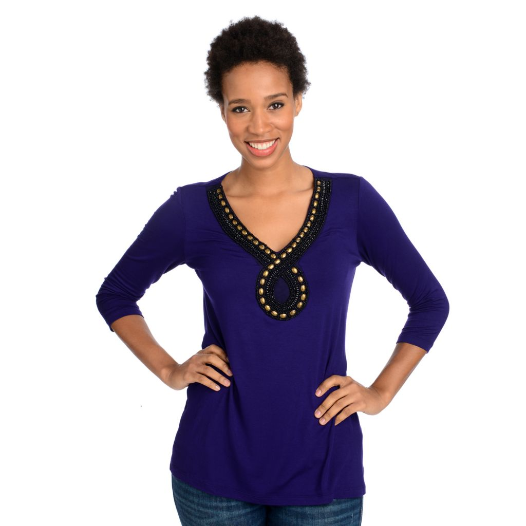 715-044 - Glitterscape Stretch Knit 3/4 Sleeved Beaded V-Neck Embellished Top