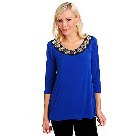 715-045 - Glitterscape Stretch Knit 3/4 Sleeved Beaded Flower Embellished Top