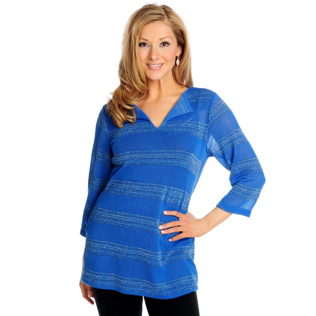 715-047 - Glitterscape Sweater Knit 3/4 Sleeved Metallic Stripe Notch Neck Top