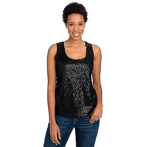 715-053 - Glitterscape Stretch Knit Mesh & Sequin Detailed Tank