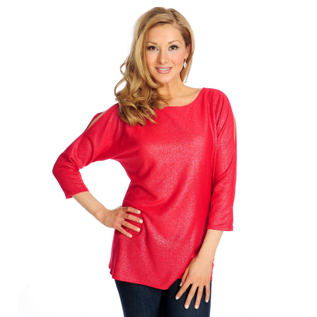 715-055 - Glitterscape Sweater Knit 3/4 Sleeved Cold Shoulder Metallic Top