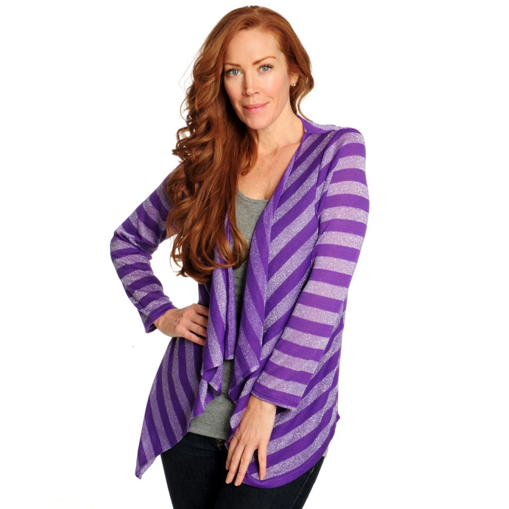 715-066 - Glitterscape Sweater Knit Metallic Striped Cascade Front Cardigan
