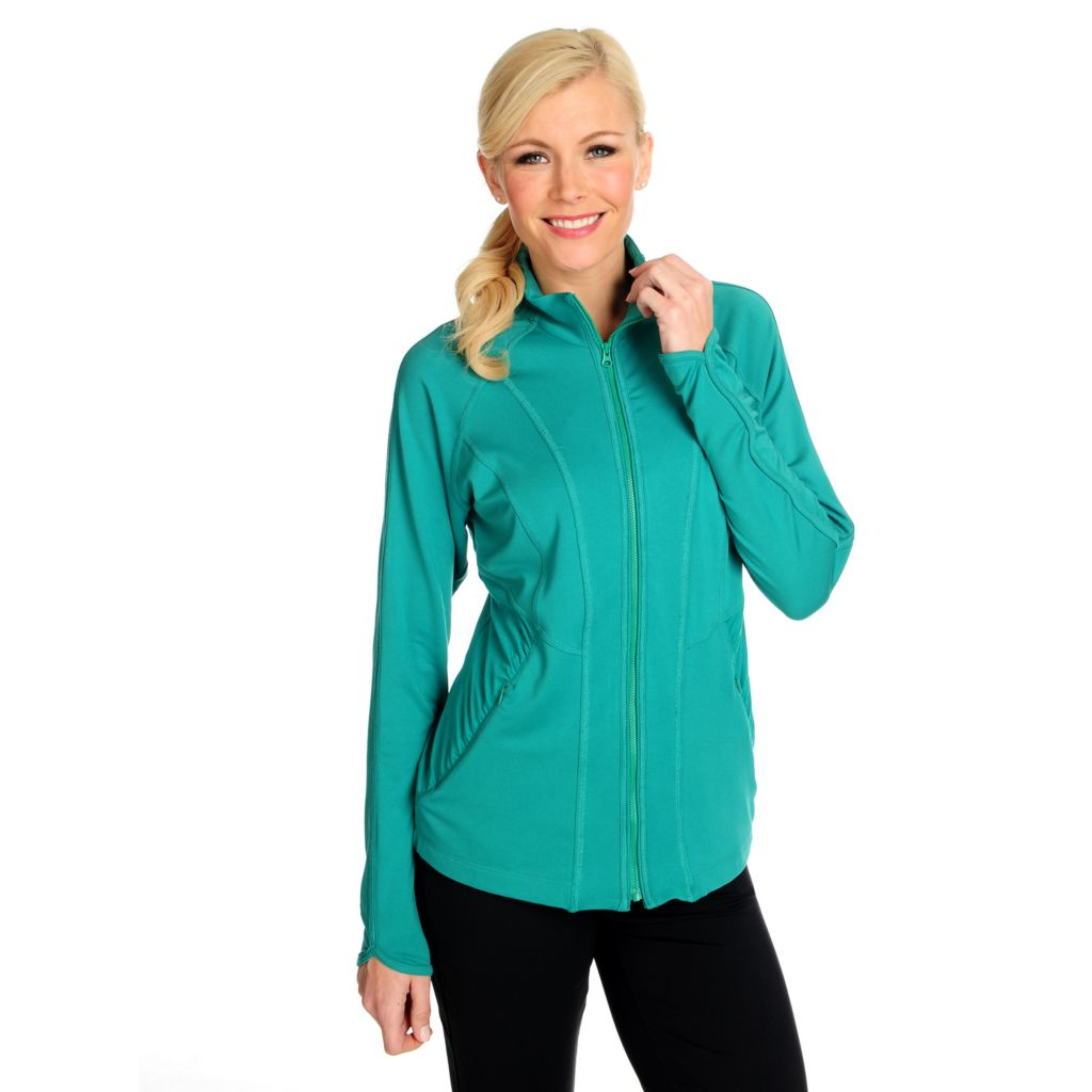 715-067 - Propella™ Stretch Knit Long Sleeved Ruched Detail Zip Front Jacket