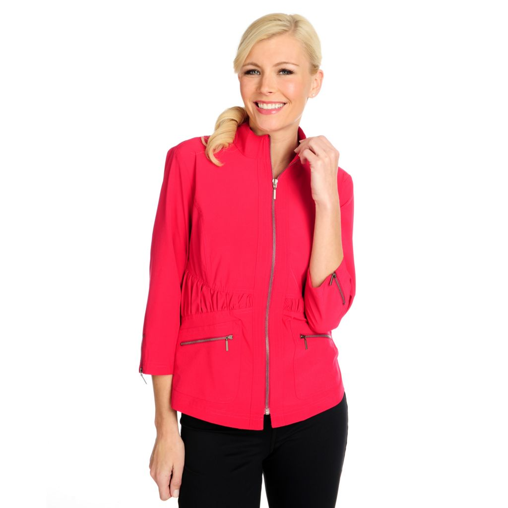 715-068 - Propella™ Woven 3/4 Sleeved Ruched Waist Zip Front Jacket