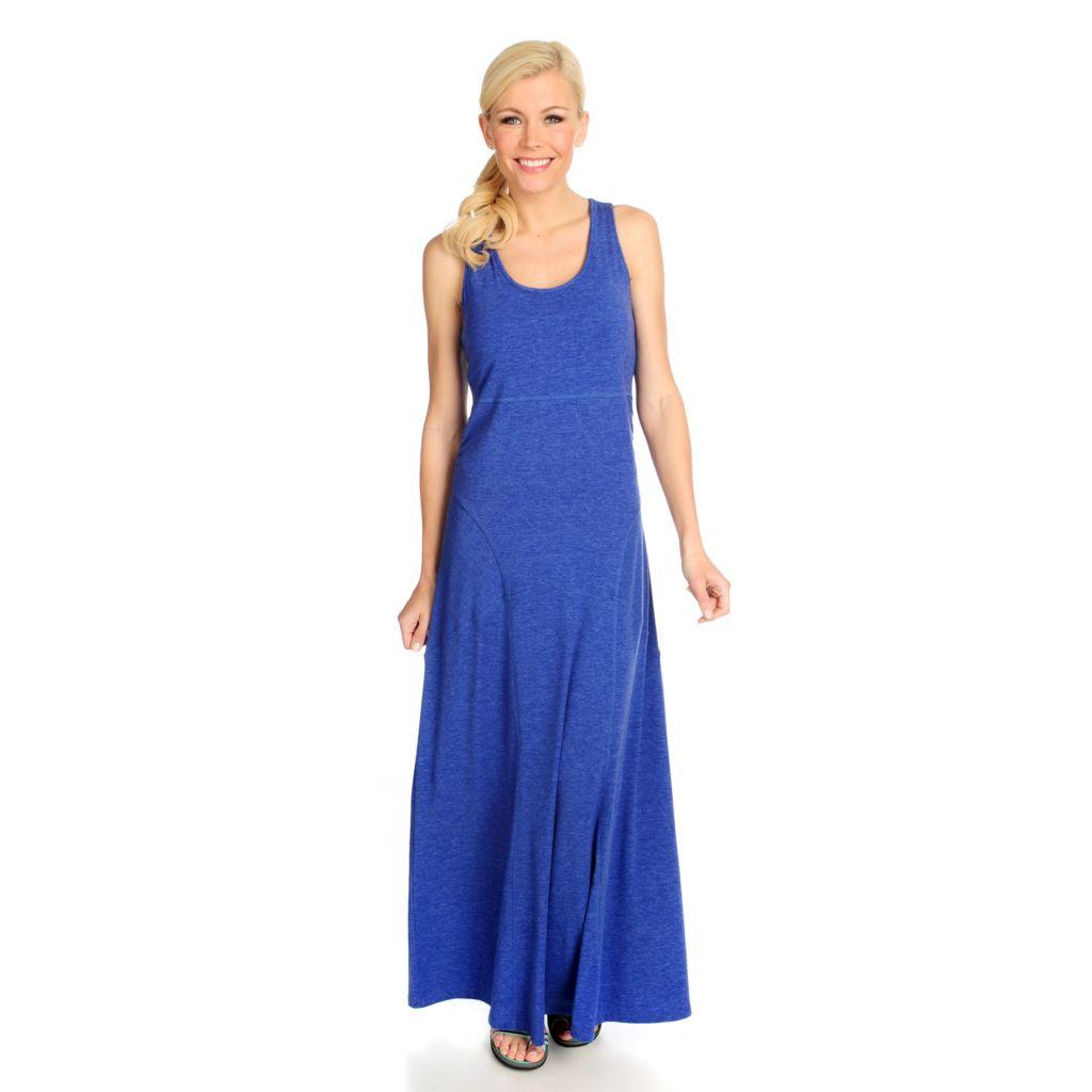 715-069 - Propella™ Stretch Knit Wide Racerback Pieced Maxi Dress w/ Built-in Bra