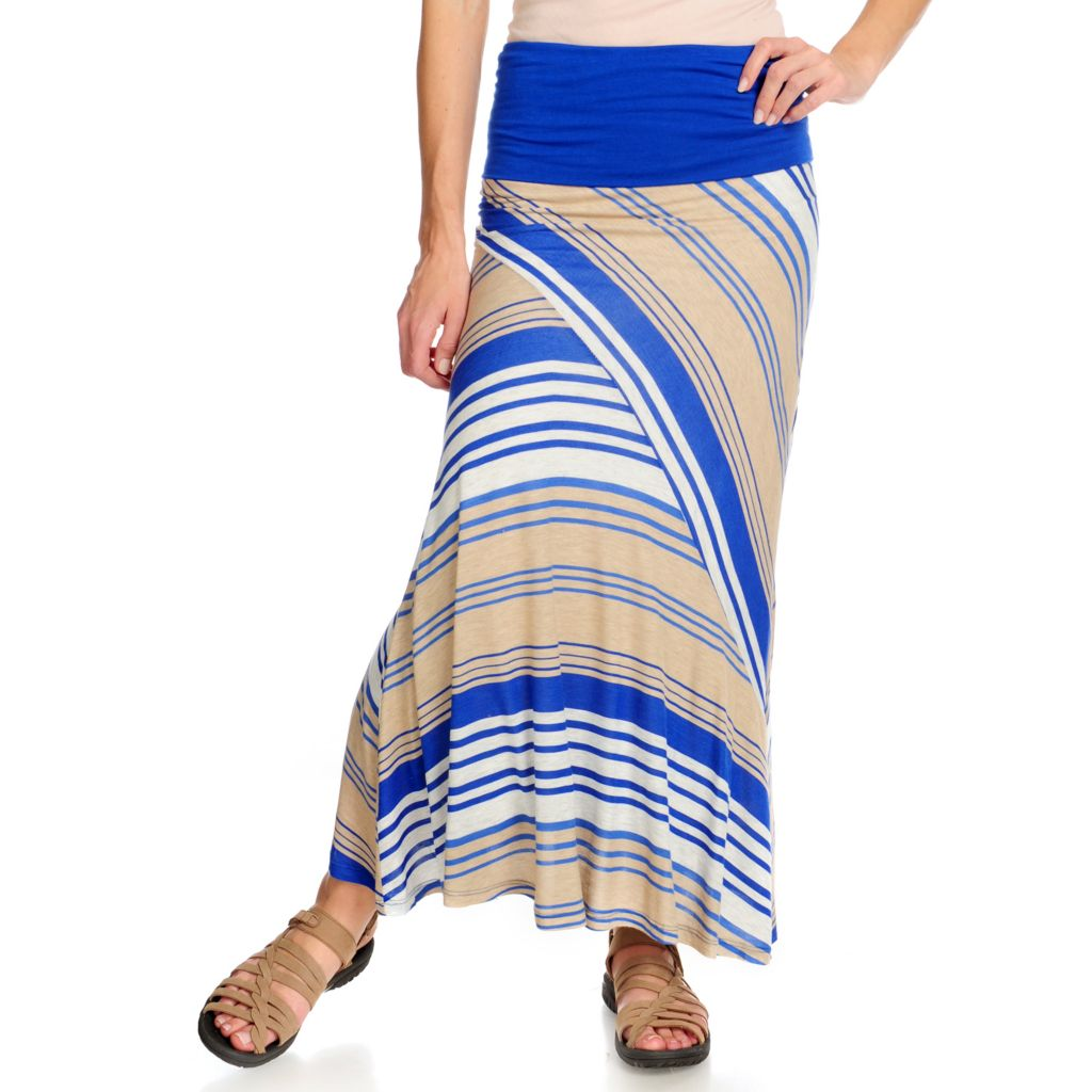715-071 - Propella™ Cotton Jersey Lined Bias Cut Foldover Waist Pieced Maxi Skirt