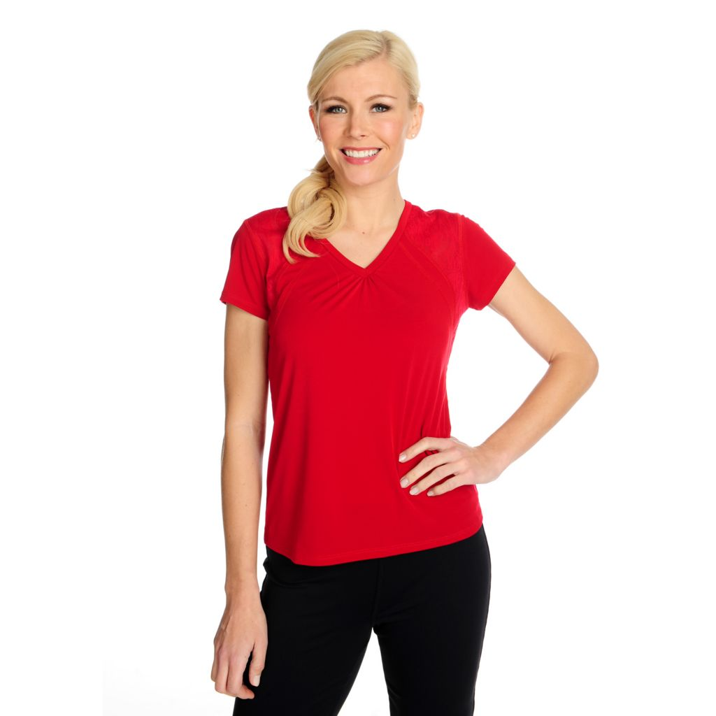 715-072 - Propella™ Stretch Knit Short Sleeved Lace Inset V-Neck Tee