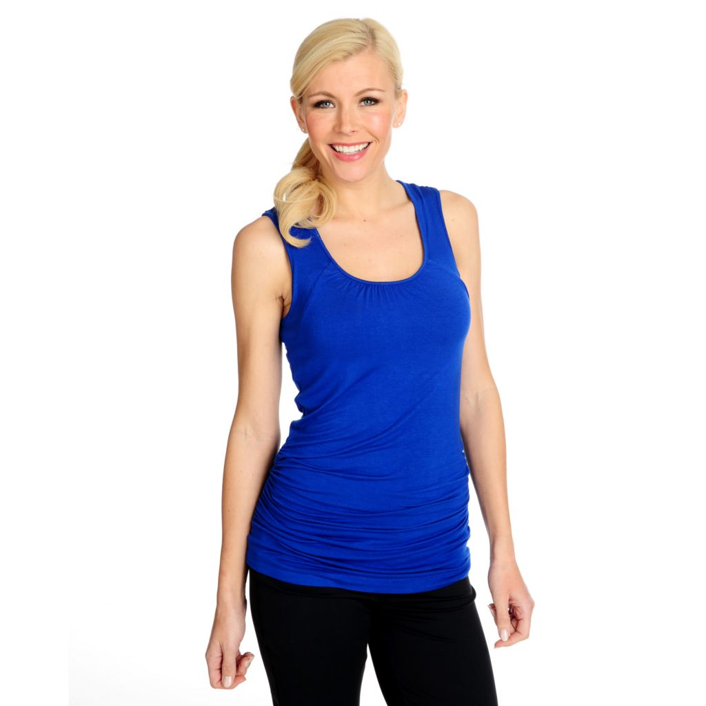 715-073 - Propella™ Stretch Knit Sleeveless Shirred Top w/ Built-in Bra