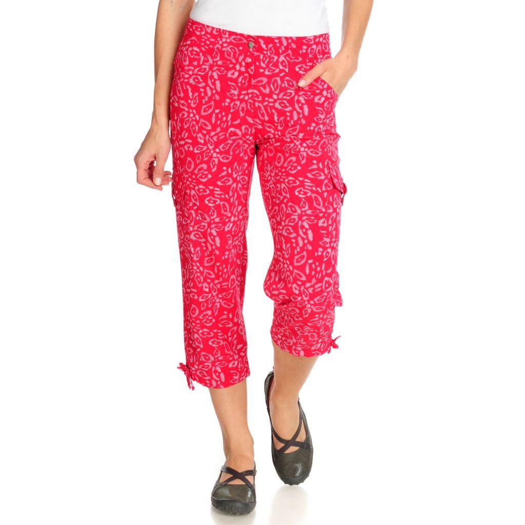 715-076 - Propella™ Stretch Woven Printed Cargo Capri Pants