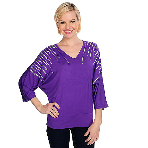 715-078 - Glitterscape Stretch Knit Dolman Sleeved Embellished V-Neck Banded Bottom Top