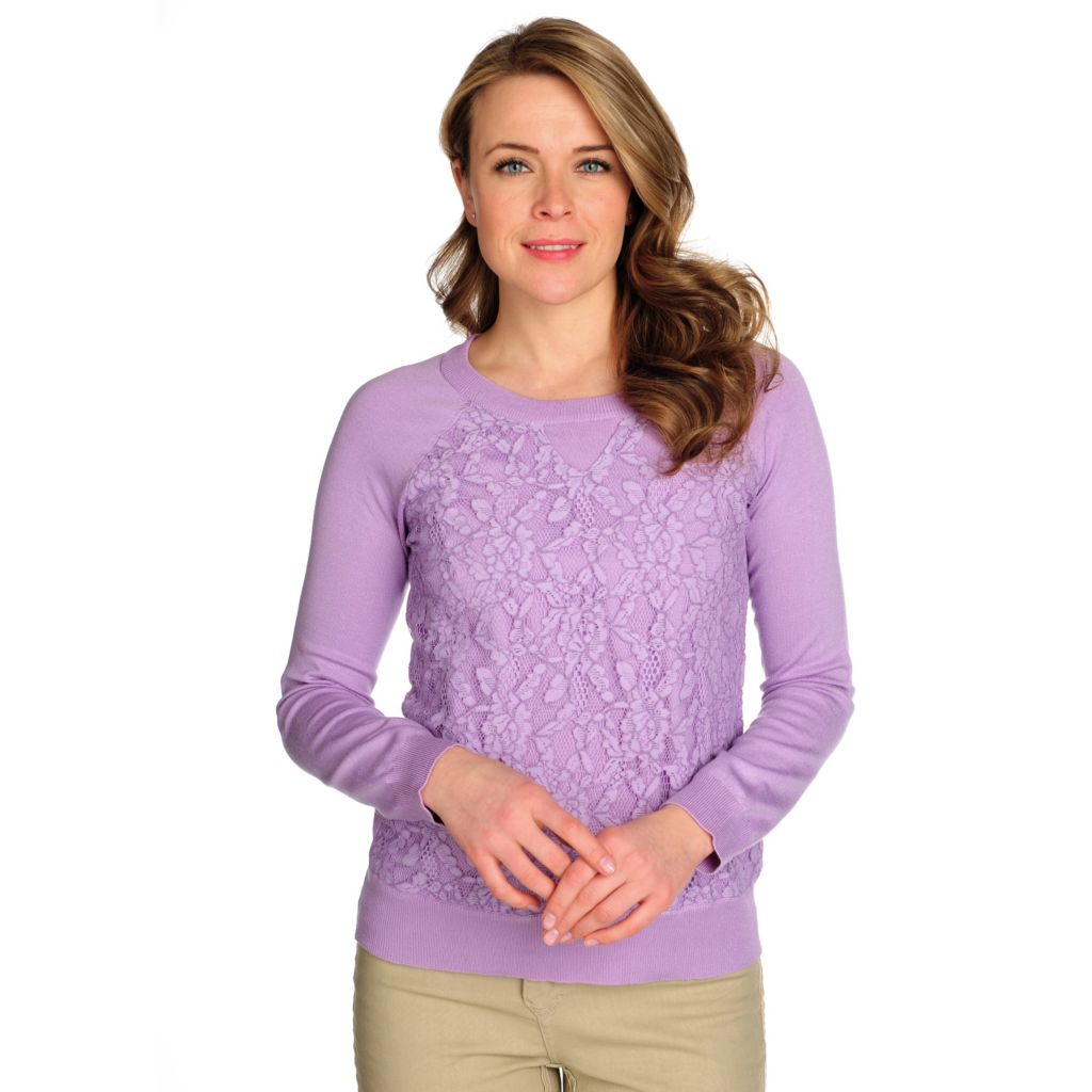 715-080 - OSO Casuals Sweater Knit Raglan Sleeved Lace Front Top