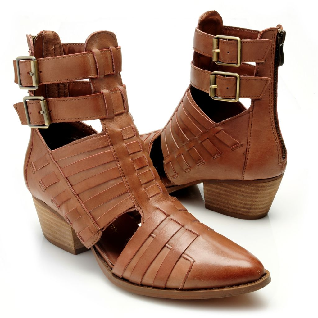 715-085 - Chinese Laundry Leather Cut-out Buckle Detailed Back Zip Short Boots
