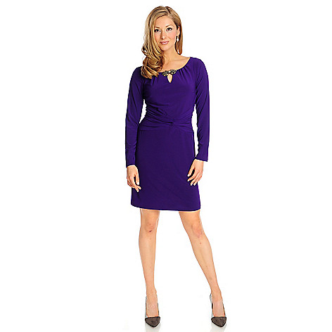 715-091 - aDRESSing WOMAN Stretch Knit Long Sleeved Embellished Notch Neck Dress