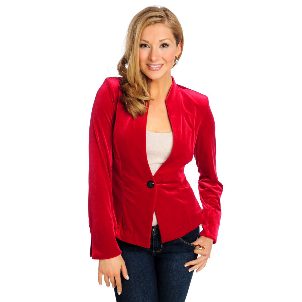 715-093 - aDRESSing WOMAN Velvet Long Sleeved One-Button Jacket