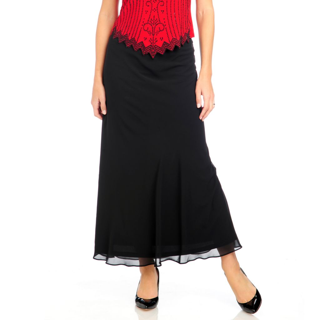715-100 - aDRESSing WOMAN Georgette Knit Lined Stretch Waist Maxi Skirt