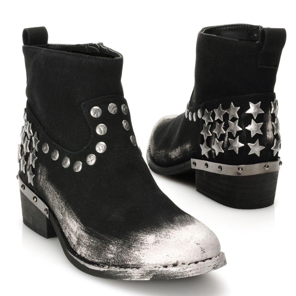 715-107 - Matisse® Suede Leather Star & Round Studded Metallic Toe Ankle Boots