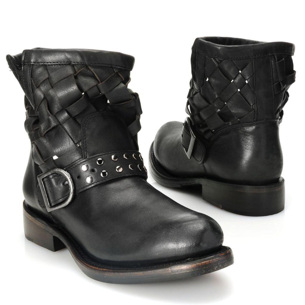 715-111 - Matisse® Woven Leather Studded Belt & Buckle Detailed Short Boots