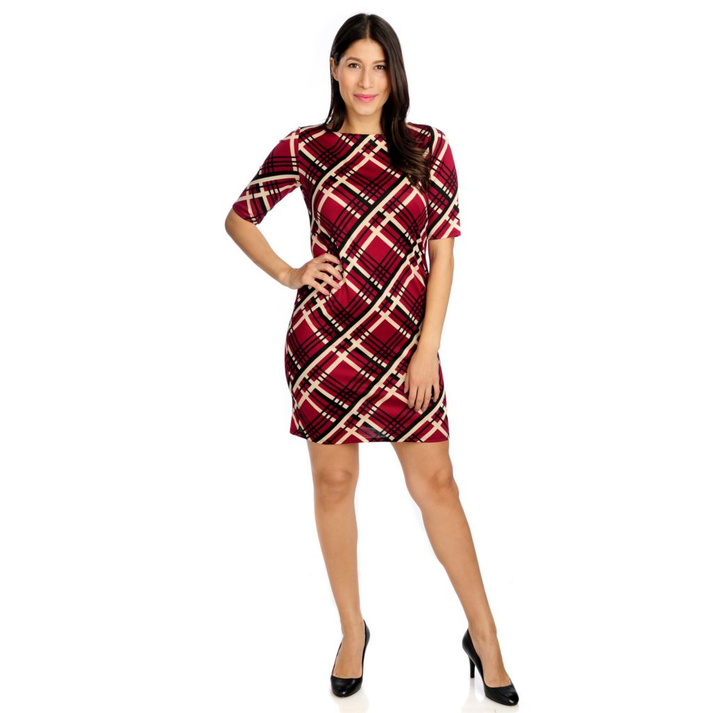 715-115 - Kate & Mallory Stretch Knit Elbow Sleeved Printed Shift Dress