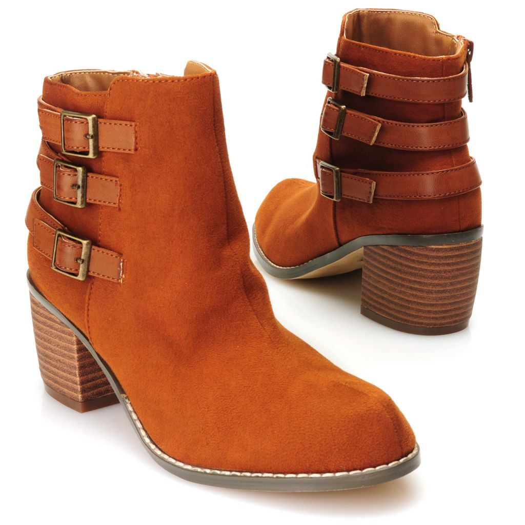 715-125 - Michael Antonio® Buckle & Belt Detailed Side Zip Ankle Boots