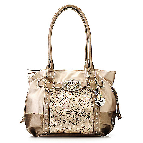 715-126 - Kathy Van Zeeland Double Handle Laser Cut Metallic Detail Shopper Handbag