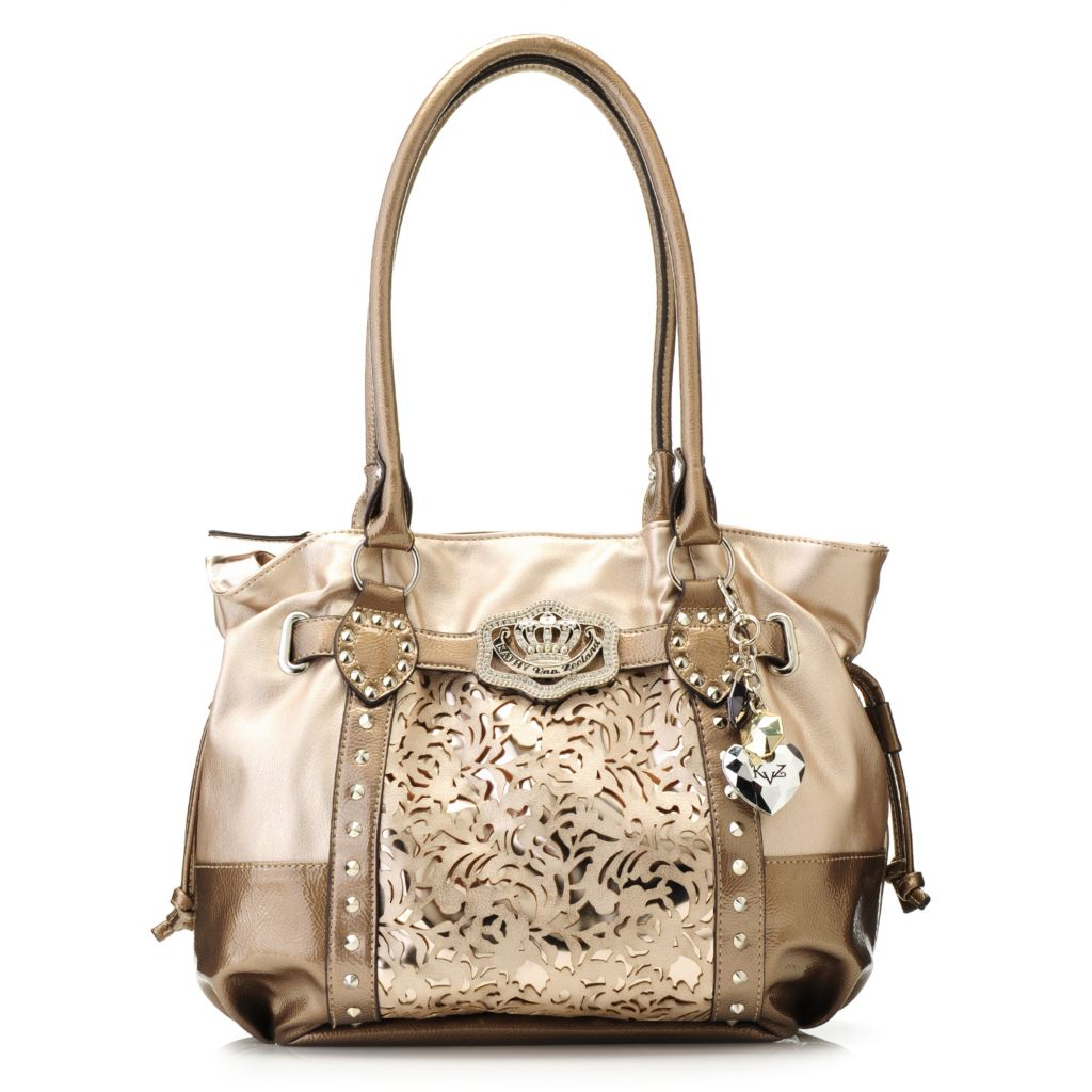 715-126 - Kathy Van Zeeland Laser Cut Metallic Detail Double Handle Shopper Handbag