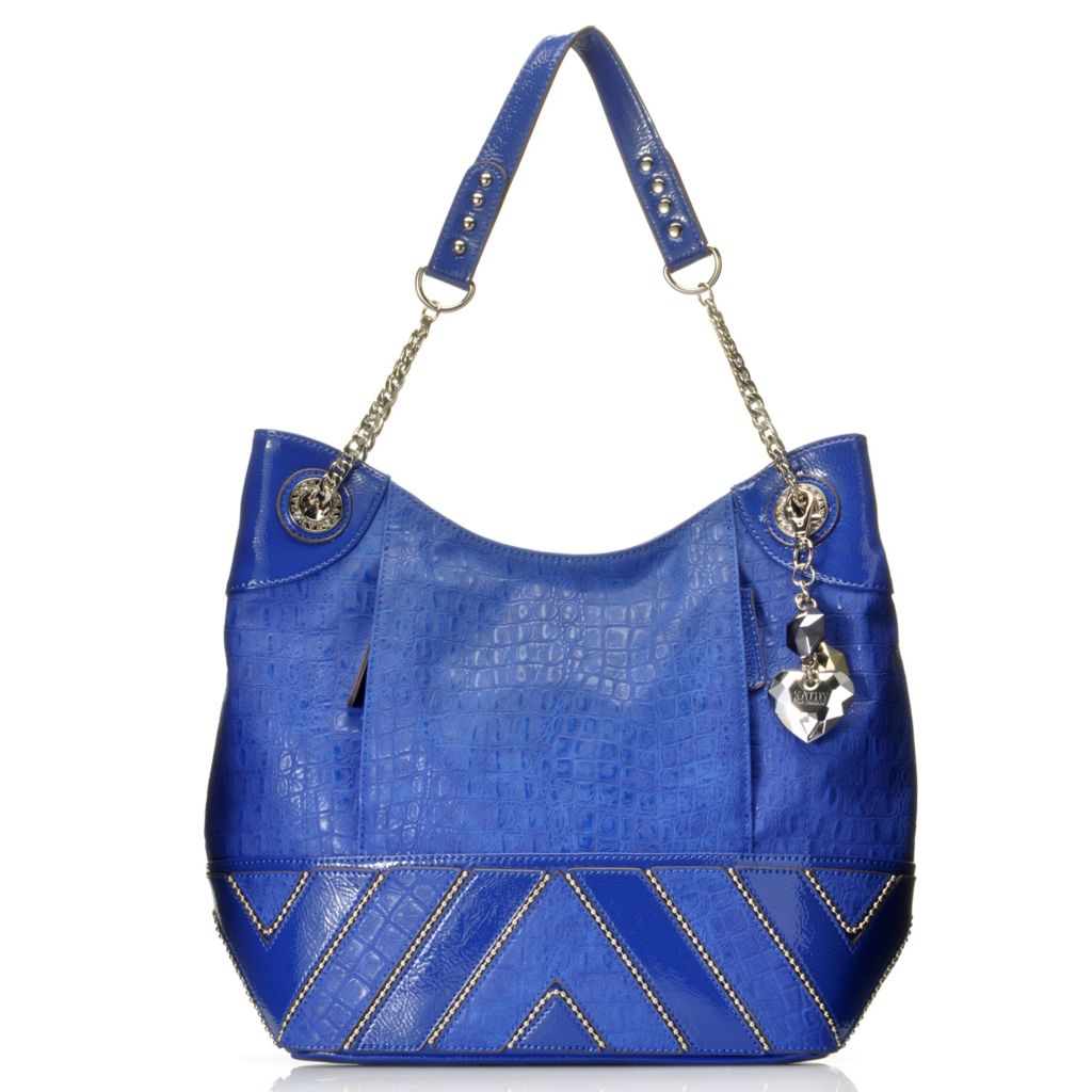 715-128 - Kathy Van Zeeland Zigzag Design Bead & Chain Detailed Zip Top Hobo Handbag
