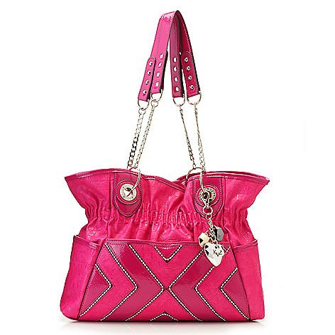 715-129 - Kathy Van Zeeland Double Handle Patent Finished Beaded Zigzag Shopper Handbag