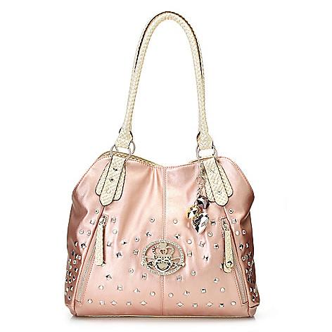 715-130 - Kathy Van Zeeland Rhinestone Embellished & Studded Tote Bag
