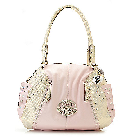 715-131 - Kathy Van Zeeland Double Handle Rhinestone & Stud Embellished Zip Top Satchel