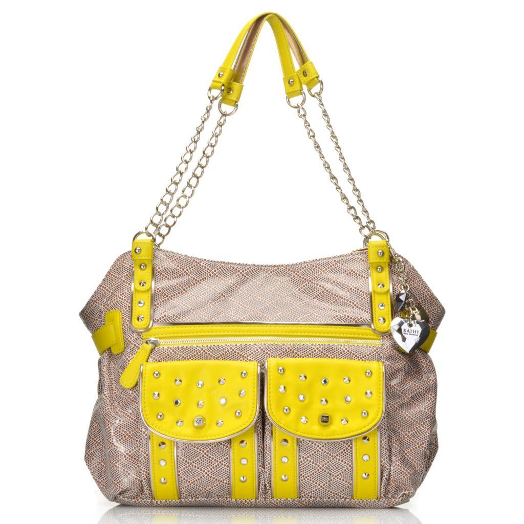 715-135 - Kathy Van Zeeland Double Handle Stud & Rhinestone Embellished Chain Detailed Tote Bag