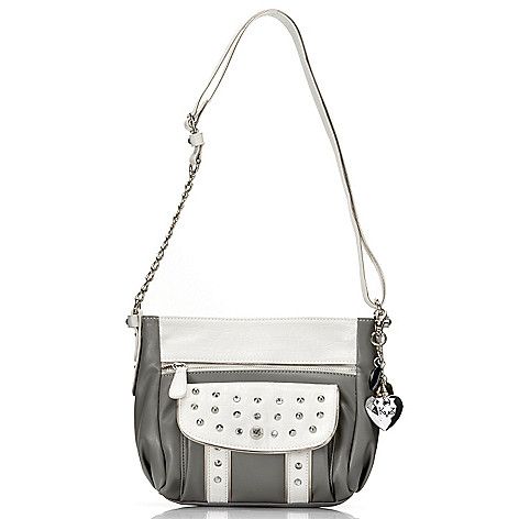 715-136 - Kathy Van Zeeland Rhinestone Embellished & Studded Zip Top Cross Body Bag