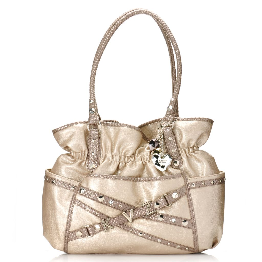715-139 - Kathy Van Zeeland Double Handle Belted Monogram Shopper Handbag