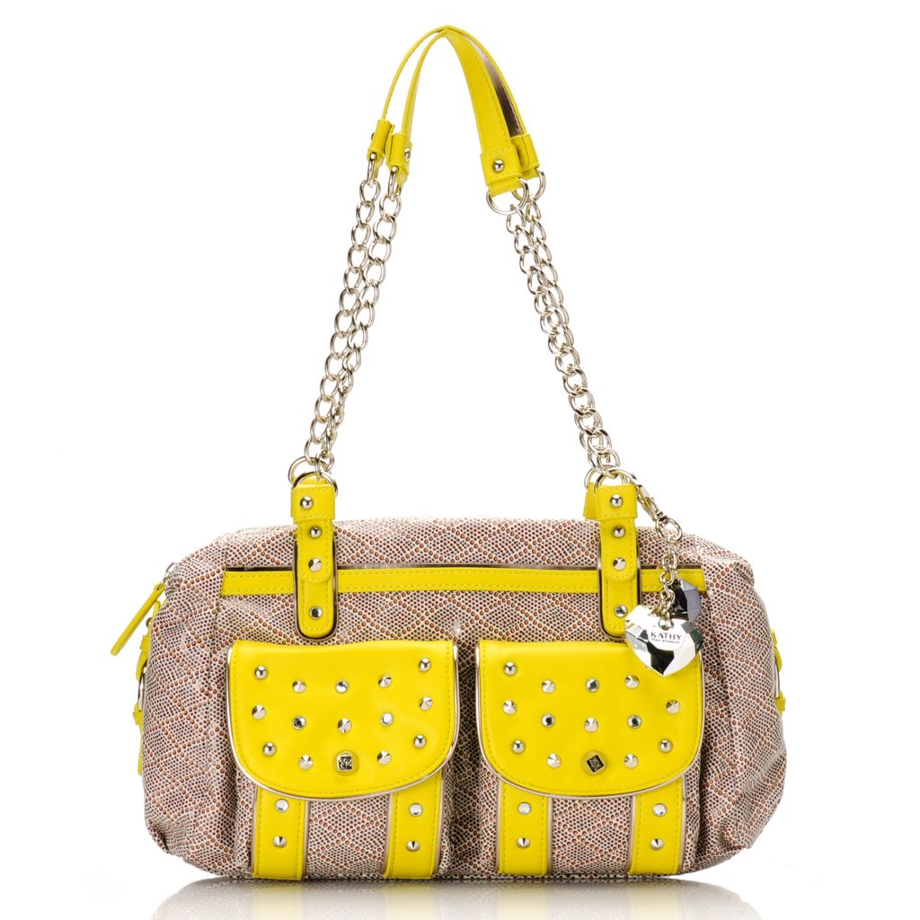 715-142 - Kathy Van Zeeland Chain Detailed Stud & Rhinestone Embellished Zip Top Satchel