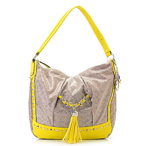 715-143 - Kathy Van Zeeland Multi Shaped Stud & Tassel Detailed Hobo Handbag