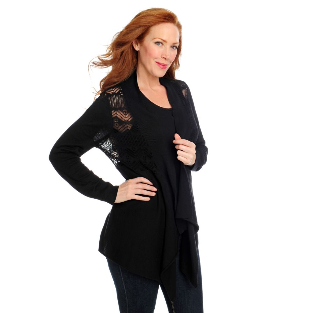 715-145 - Kate & Mallory Sweater Knit Drape Front Pointelle Cardigan & Tank Set