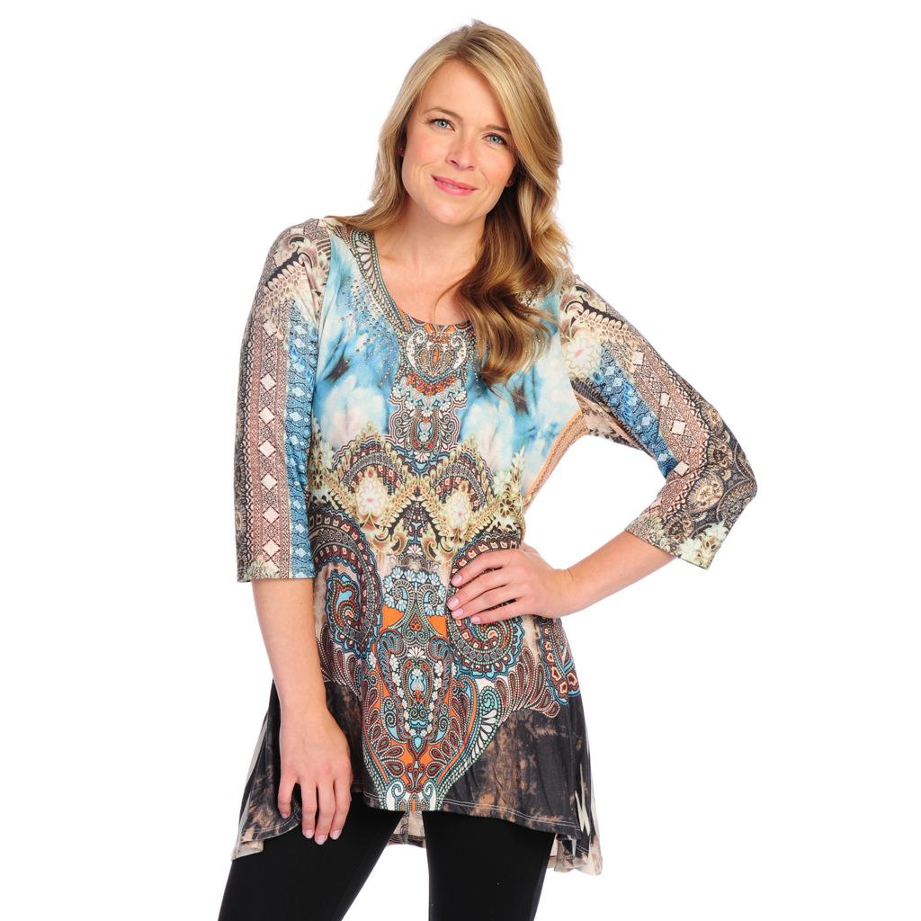 715-146 - One World Sweater Knit 3/4 Sleeved Embellished Hi-Lo Tunic