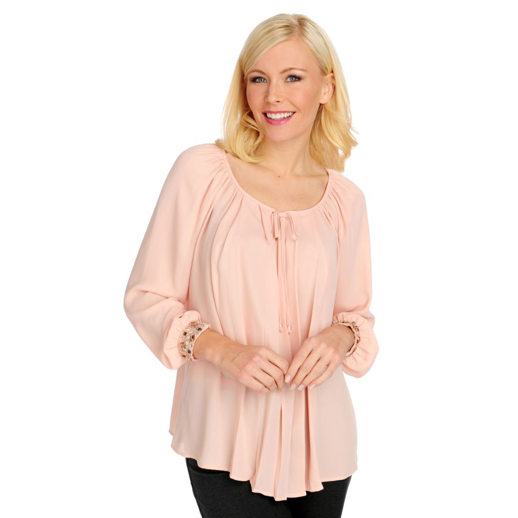 715-150 - Kate & Mallory Crepe Raglan Sleeved Embellished Cuff Pleated Blouse