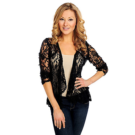 715-152 - Kate & Mallory Lace Long Sleeved Ruched Back Open Cardigan