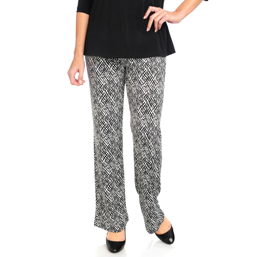 715-155 - Kate & Mallory Stretch Knit Wide Leg Elastic Waist Printed Pants