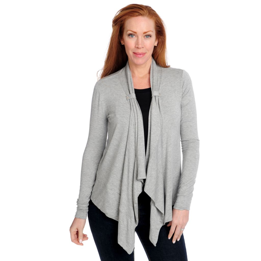 715-156 - Kate & Mallory Stretch Knit Long Sleeved Cascade Front Open Cardigan